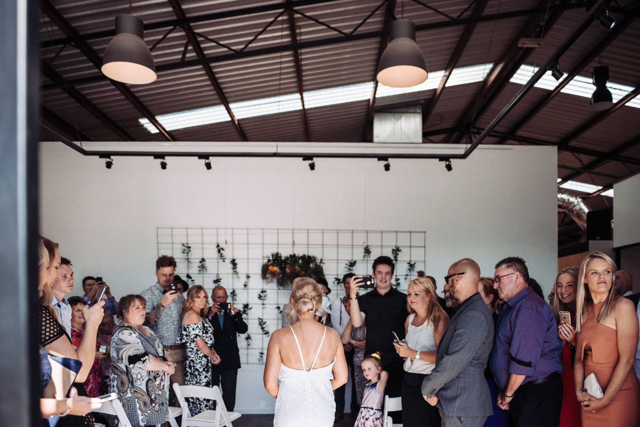 Warehouse vibes at Ian and Shara's wedding at The Nook. Image credit:  Anitra Wells Photography .