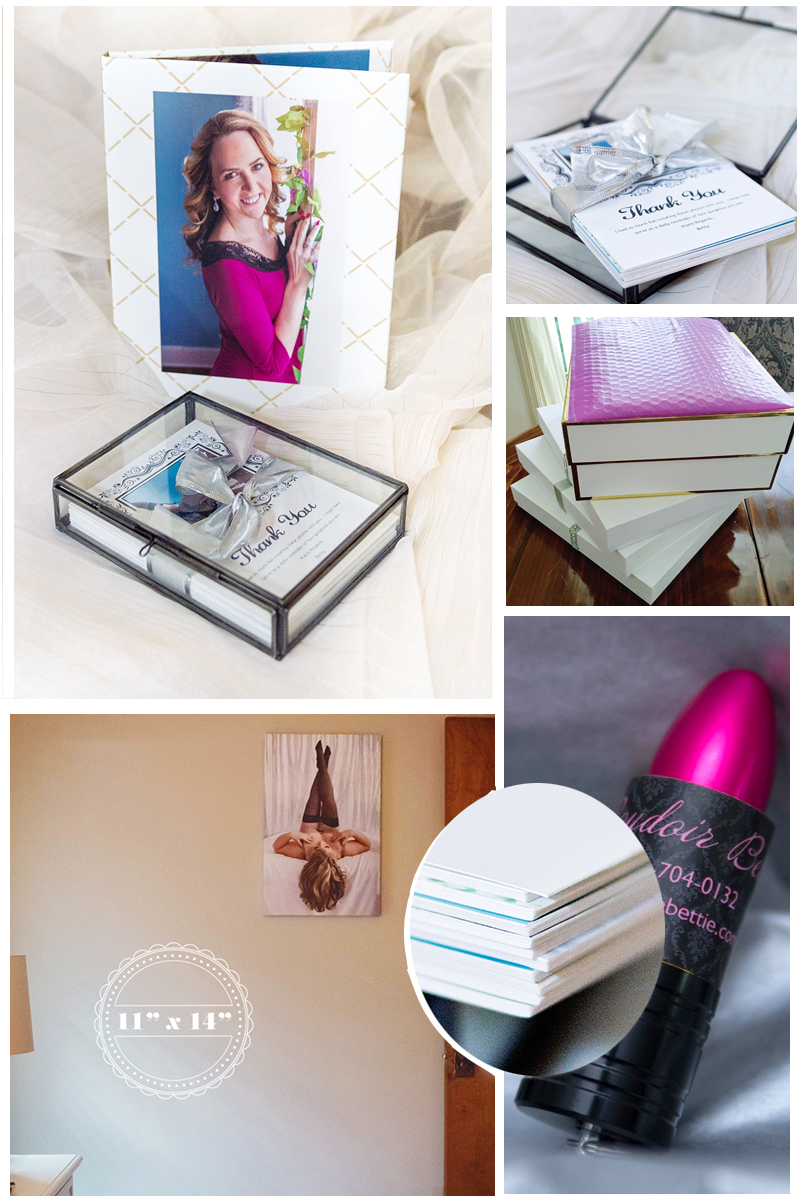 Here's a glimpse at some client orders ready to go out. Top Left: an 8 x 10 folio and a glass folio box with ten 5 x 7 mounted prints. Bottom Left: A shot of an 11 x 14 gallery wrap in the client's home Bottom Right: Any purchase of wall art or a collection comes with the corresponding digital files on an adorable lipstick shaped USB. Inset: a close-up of the mounted prints printed on single-weight matboard.