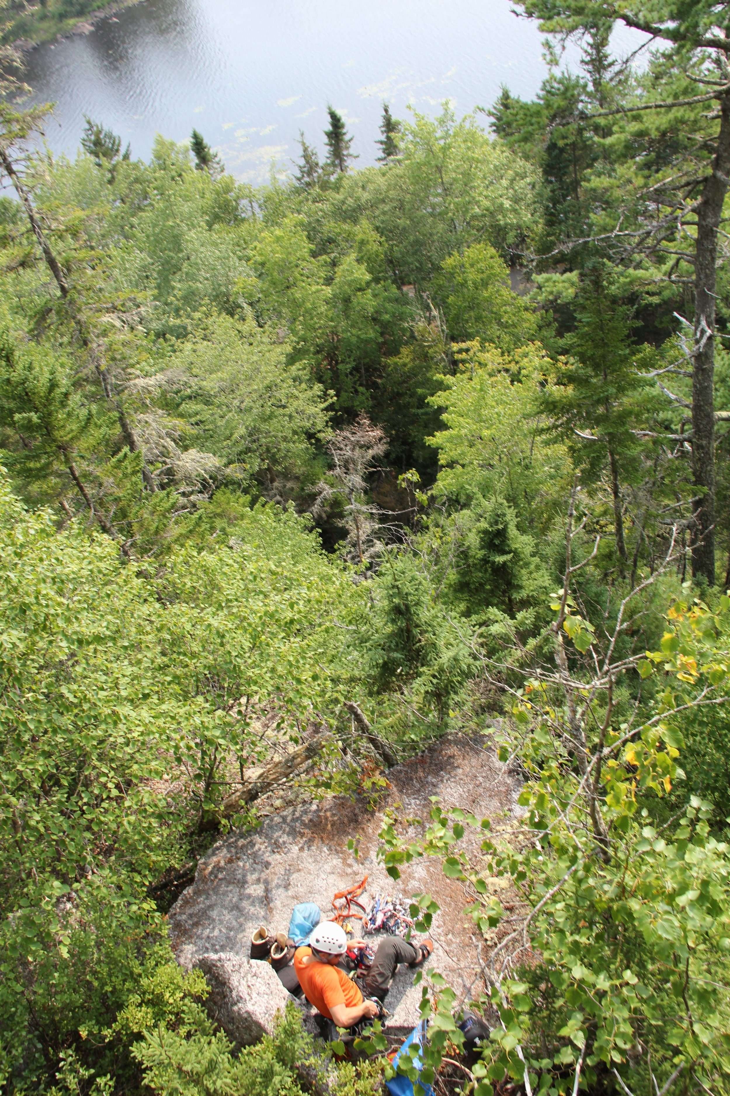 Belay platform the bottom of the crag