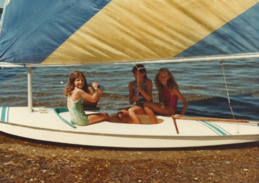 Sailing a Sunfish at the Club-late 1970's.