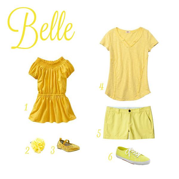 Sources: (1) dress , (2) flower clip , (3) flats , (4) t-shirt , (5) shorts , (6) kicks .