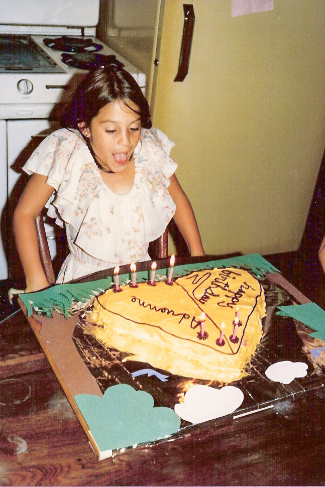 Excellent cake. For the family. And yes, I am wearing a Xanadu dress. My daughter gets the dress-up thing genetically.
