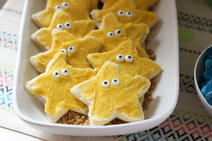 Starfish cookies spotted at  The Decorated Cookie . I used  this recipe for cookie doug  h . Typically, I use the cream cheese frosting but used buttercream instead. I'm going back to cream cheese next time but my frosting choice did not prevent these cookies from entirely disappearing during the party.