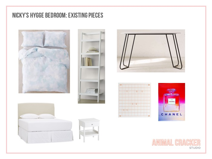 Clockwise from top left: Sheets no longer available,  shelf (similar here) ,  desk ,  Warhol Chanel Print ,  hanging grid ,  nightstands (similar) ,  full bed (similar) .