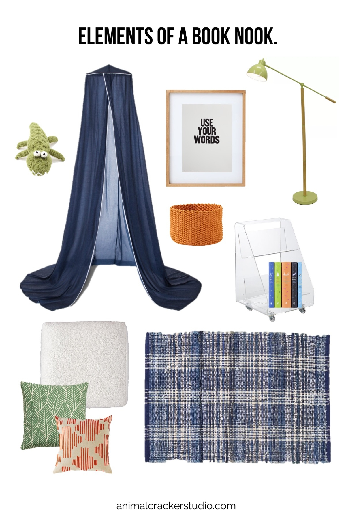 Sources (a couple of these links are affiliate links and I thank you in advance for using them!):  alligator ,  canopy ,  use your words ,  frame , lamp,  book cart ,  set of classics ,  soft basket ,  rug ,  faux shearling floor cushion ,  green pillow ,  red mod pillow .