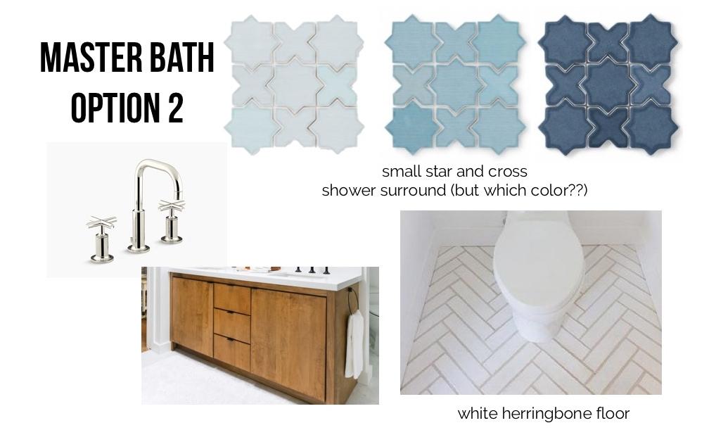 Sources:  faucet ,  vanity (designed by Orlando Soria),  blue tile ,  floor pattern .