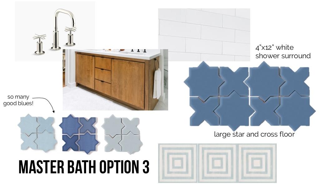"Sources:  faucet ,  vanity (designed by Orlando Soria),  white 4"" x 12"" tile , blue tile ,  closet floor ."