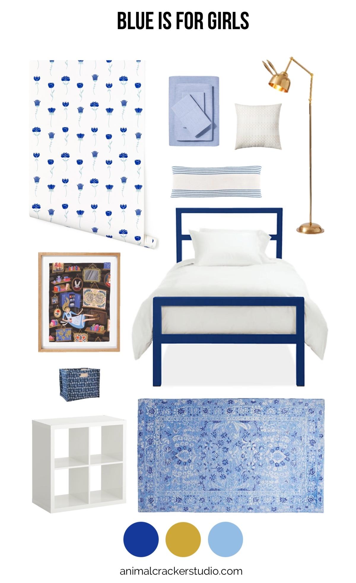 Sources:  wallpaper ,  sheets ,  square eyelet pillow ,  boudoir pillow ,  lamp ,  bed ,  rug ,  bookshelf ,  similar bin ,  Alice Falling ,  frame .