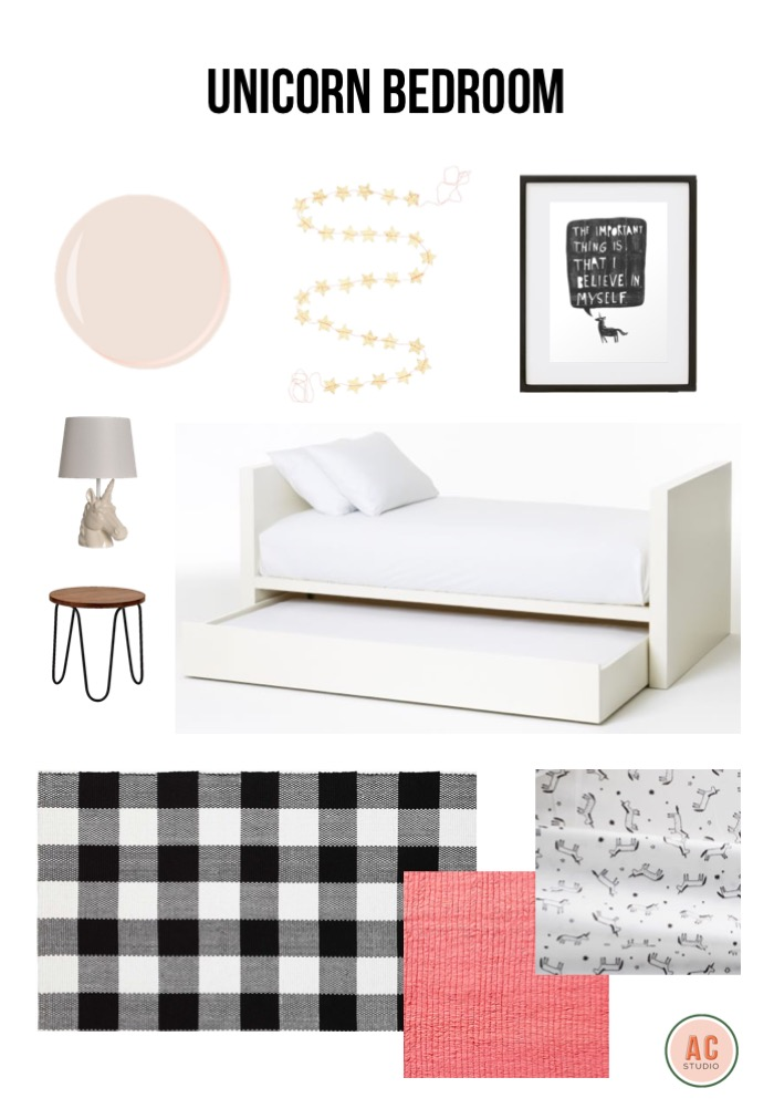 wall color  /  garland  /  unicorn print  /  frame  /  day bed with trundle  /  unicorn sheets  /  pink quilt  /  rug  /  night stand  /  unicorn lamp