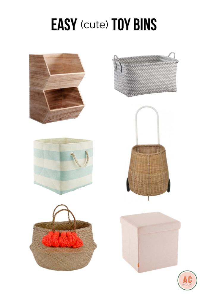 stacking crates  /  grey floor bin  /  rolling basket  /  storage stool  /  tassel basket  /  striped bin