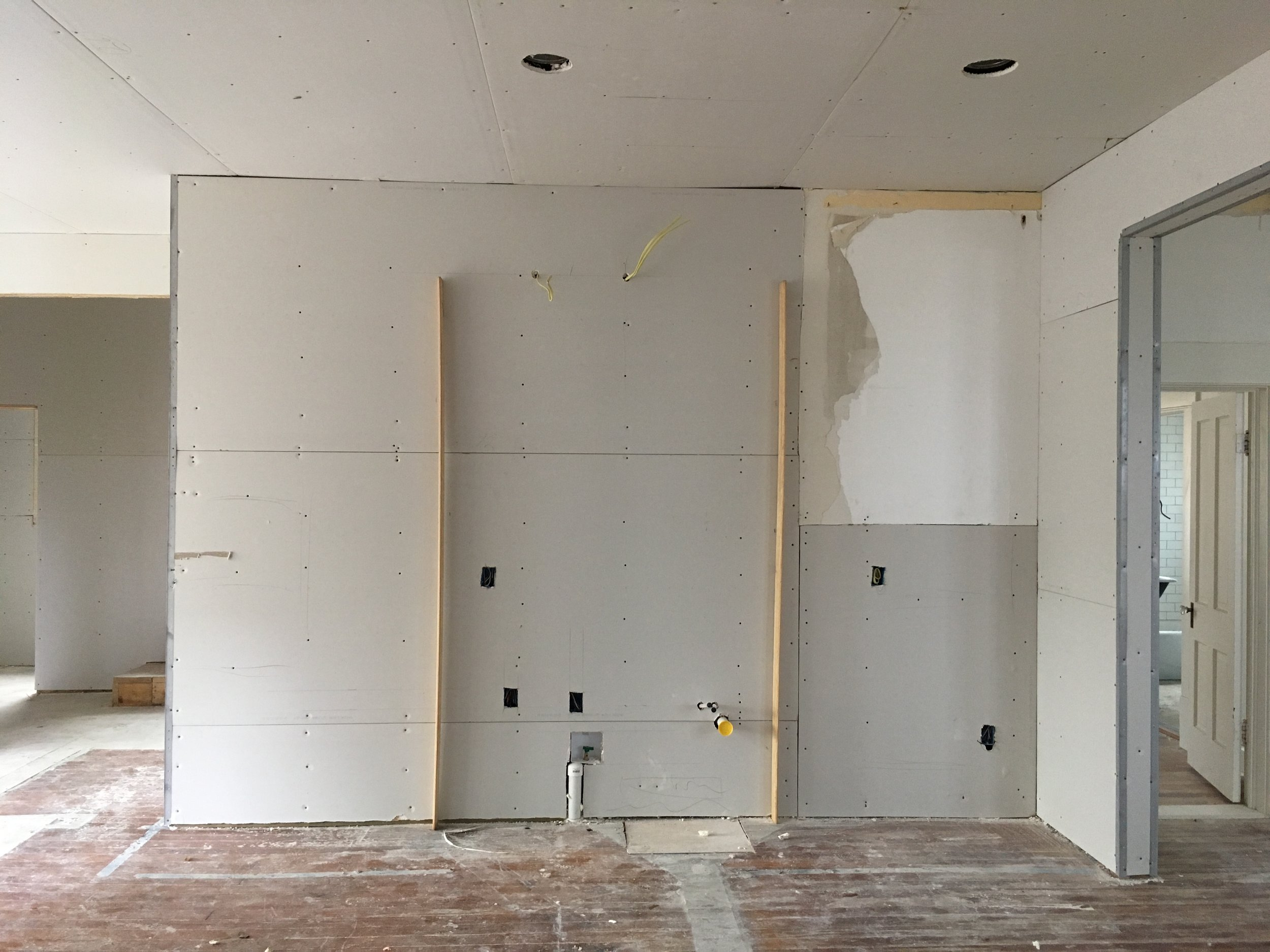 future pantry wall (yes the lights are in the wrong spot)