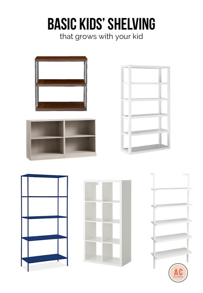 industrial style shelving  /  grey bookcase  / parsons bookshelf  /  wall shelf  /  cubby shelf  /  skinny metal shelf