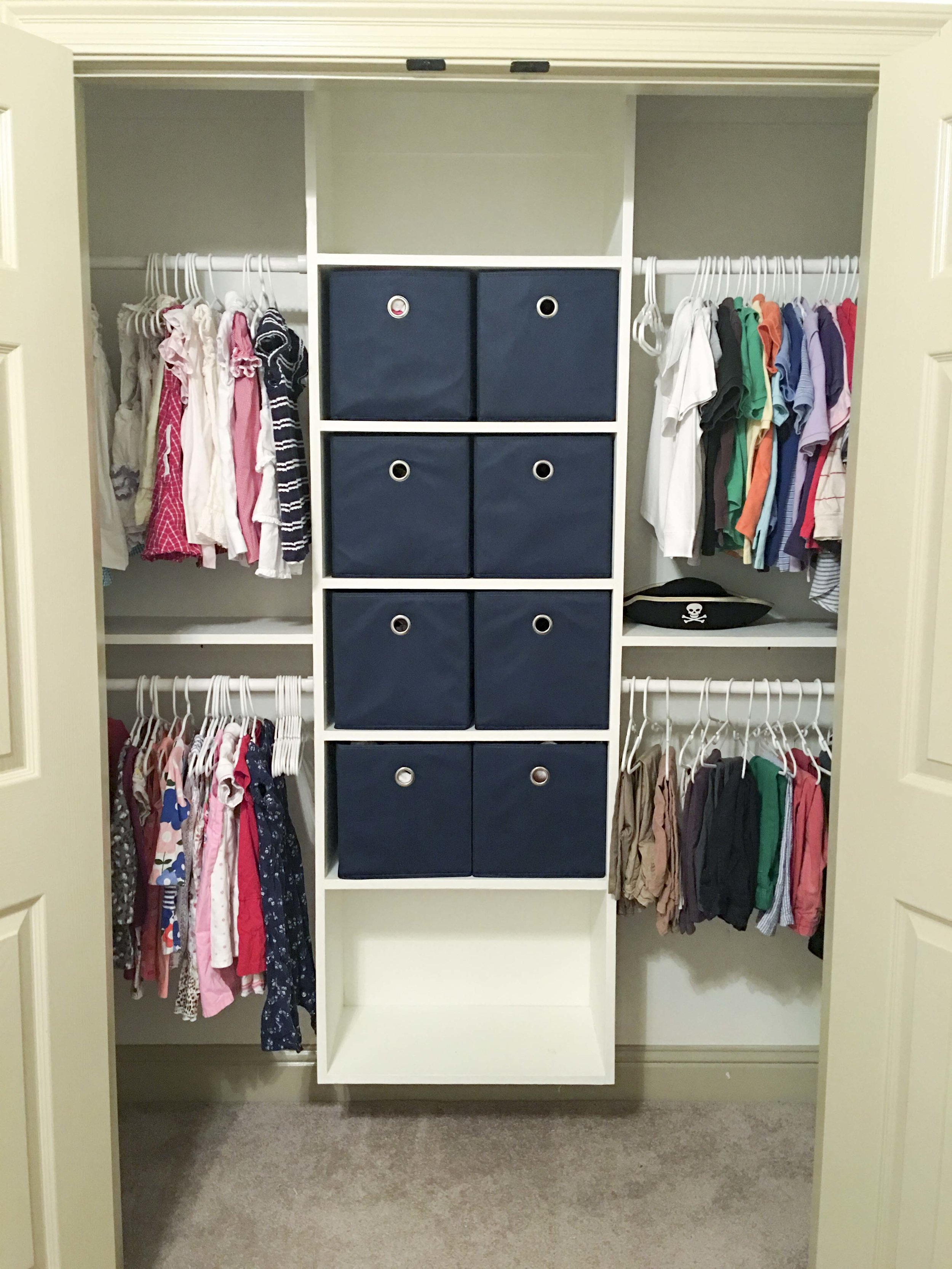 AFTER: closet with space for two and access at kid level