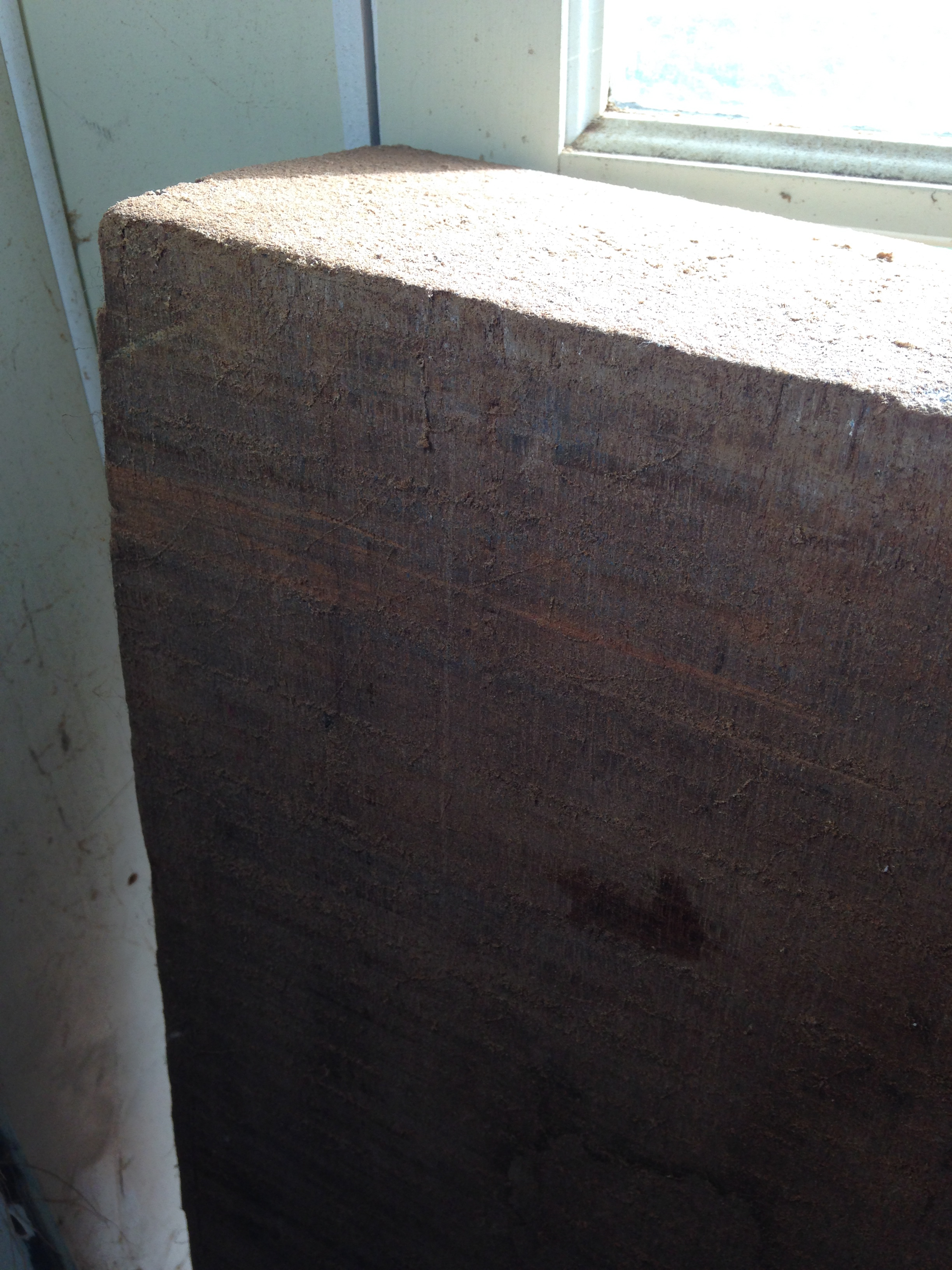 Honduran mahogany beam close up aged 150 yrs.