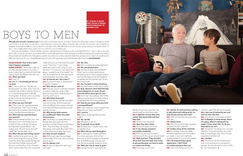 Andrea Chu Paper Magazine: Gelnn O'Brien