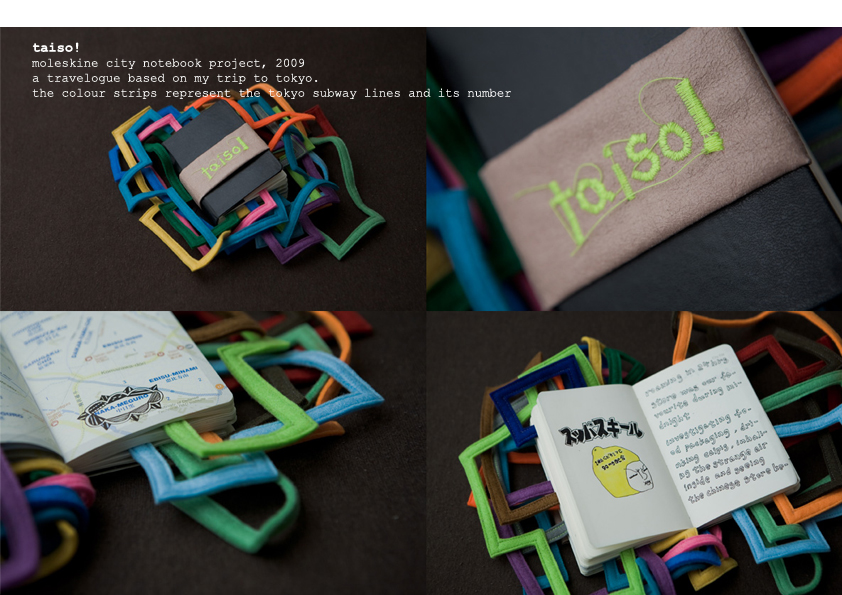 "A commissioned project by Moleskine.   This Tokyo city notebook was customised with the mean of translating the train track system into physical coloured strips attached to the notebook. ""Taiso"" means ""exercises"" in Japanese. Workplace exercise is not an uncommon practice in the Japanese culture."