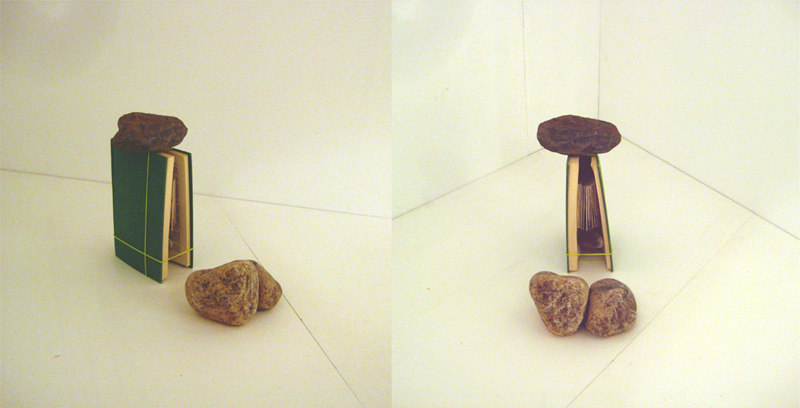 The book installation was accompanied by three rocks.