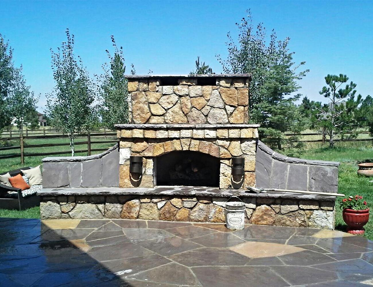 Outdoor Fireplace with Veneer.