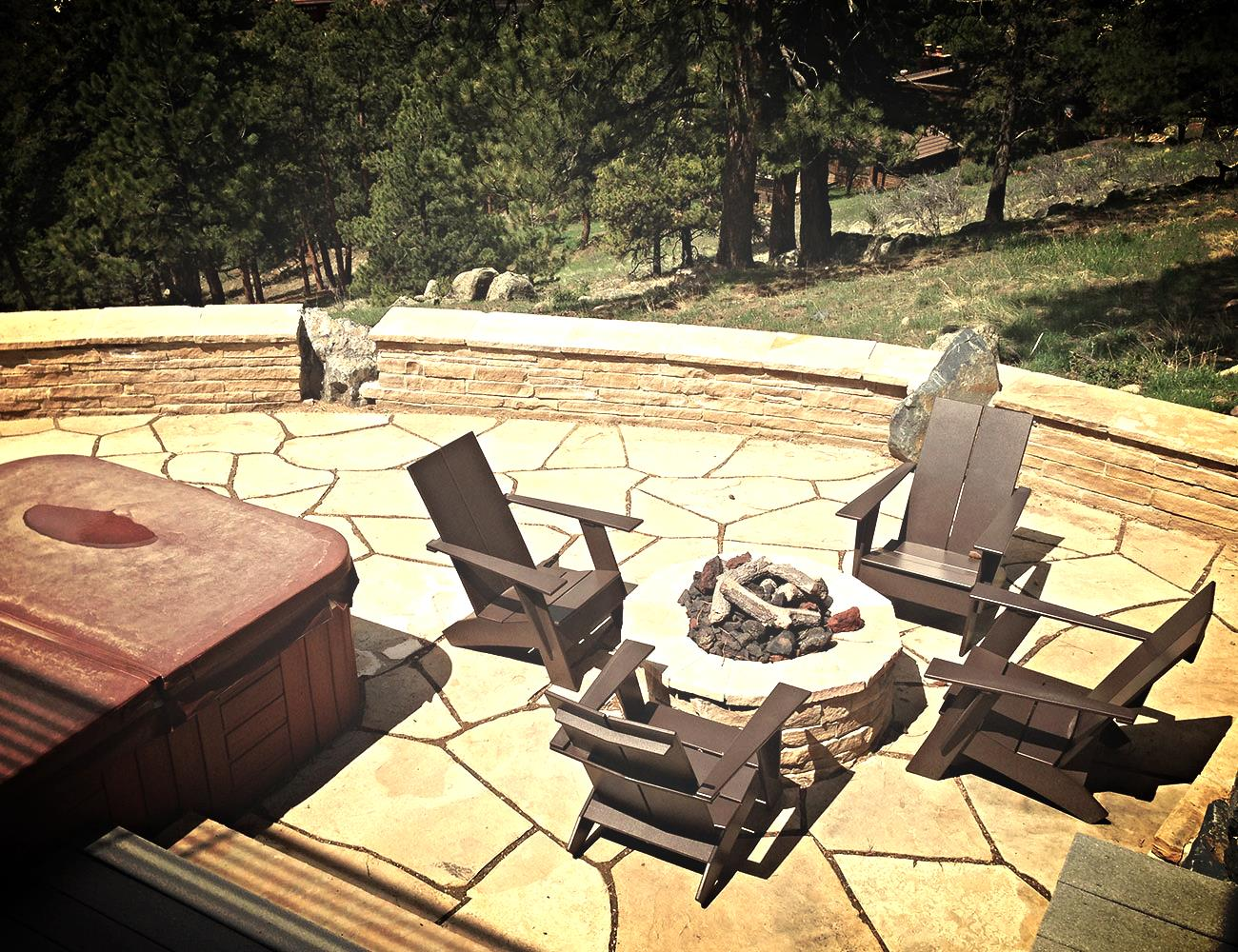 Buff Firepit with Sitting Wall.