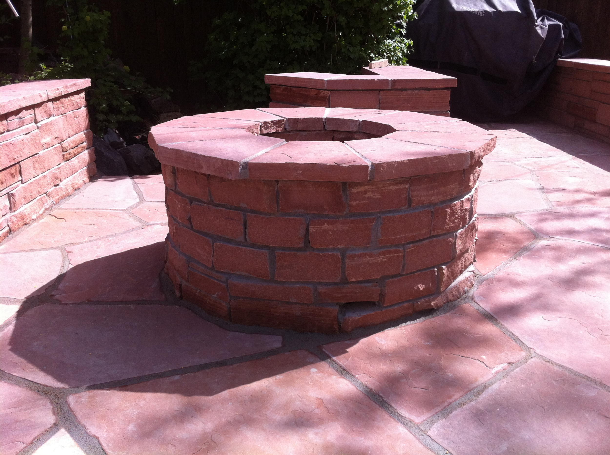 Red Stripstone Firepit.