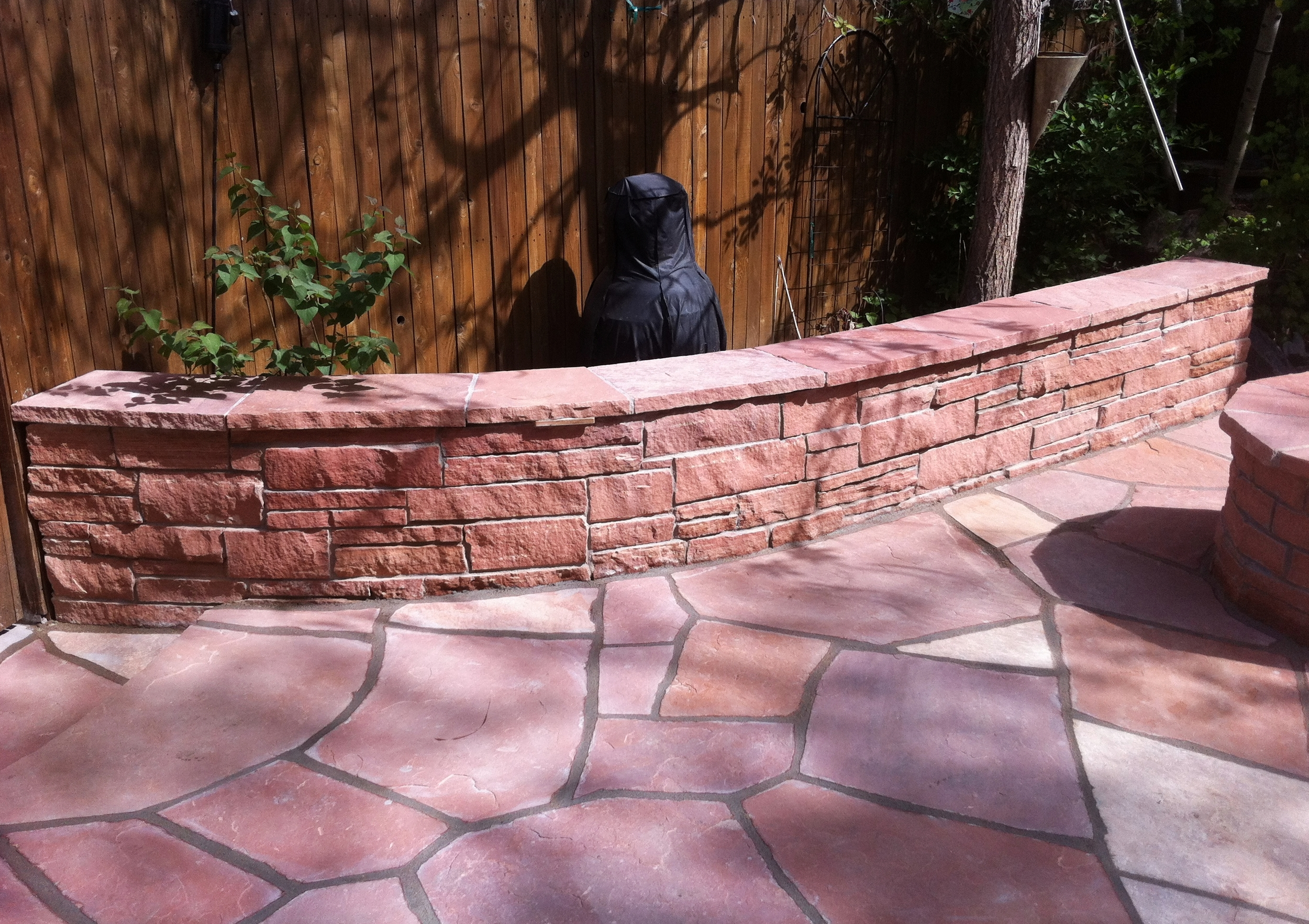 Red Stripstone Patio & Sitting Wall.