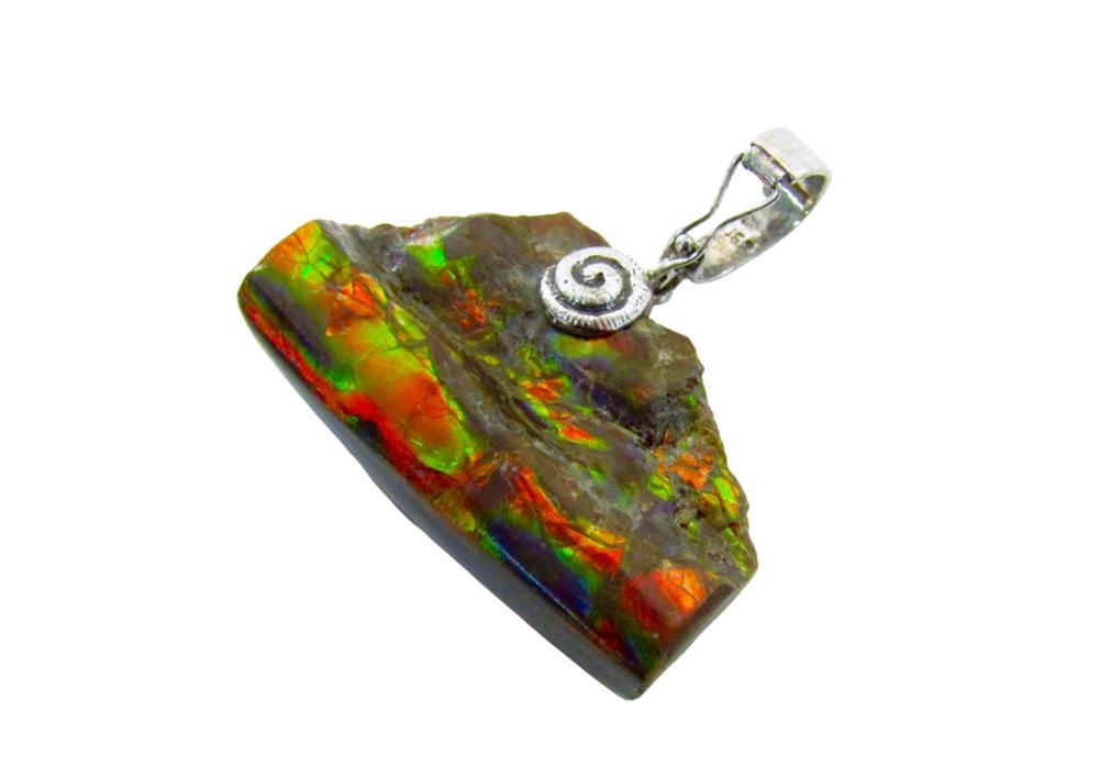 Grade Rare Ammolite Sterling Silver Pendant Necklace AAA