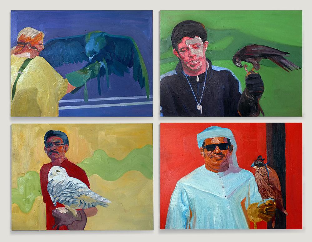 Birds  Four pieces: 24 x 18 each  oil on canvas  2013