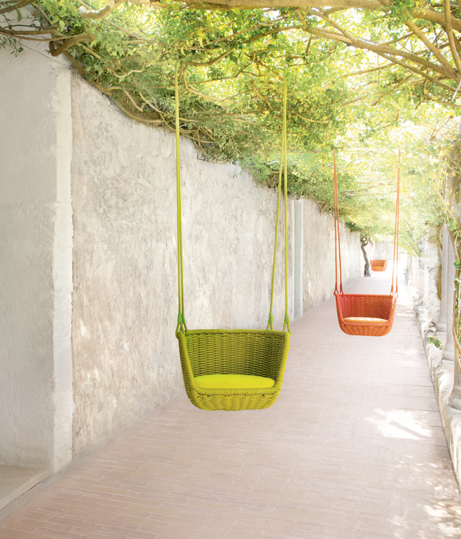 Adagio suspended seat by Francesco Rota for  Paola Lenti , shown on the grounds of Jack Lenor Larsen's  LongHouse Reserve  in East Hampton, New York.    Photo by Daniel Gonzalez.