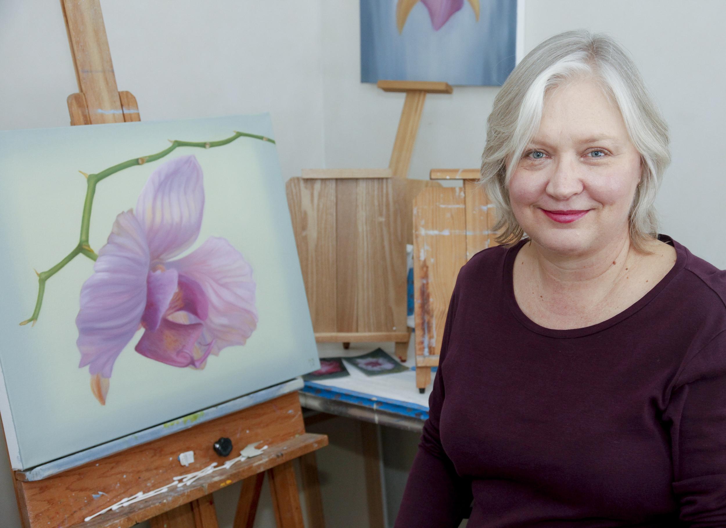 Marissa Bridge, in her East Quogue Studio - photo 2014 by Kathy Zeiger.