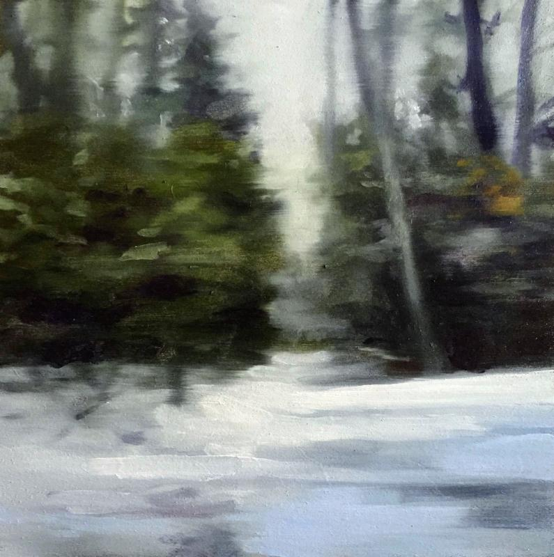 """winter driving sketches no.5  2016  oil on panel  10x10"""""""