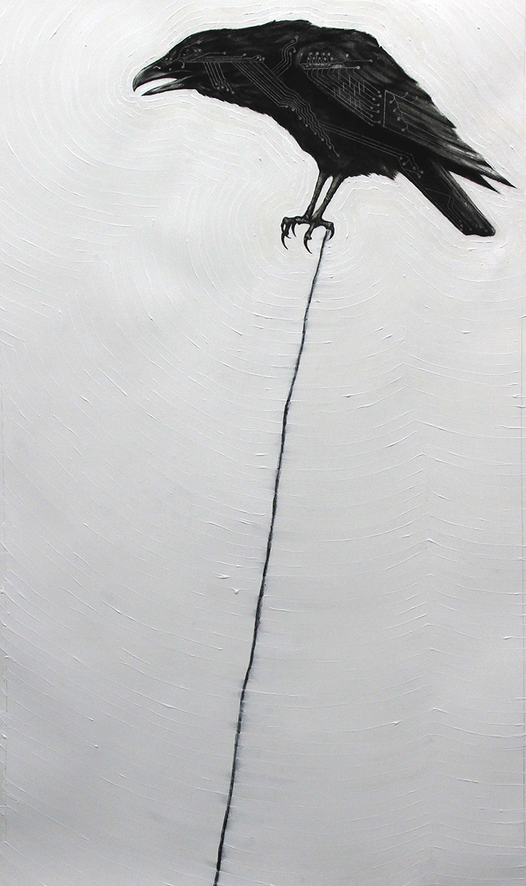 """Circuit Raven, 2012  Charcoal and Acrylic on stretched paper  28x48"""""""