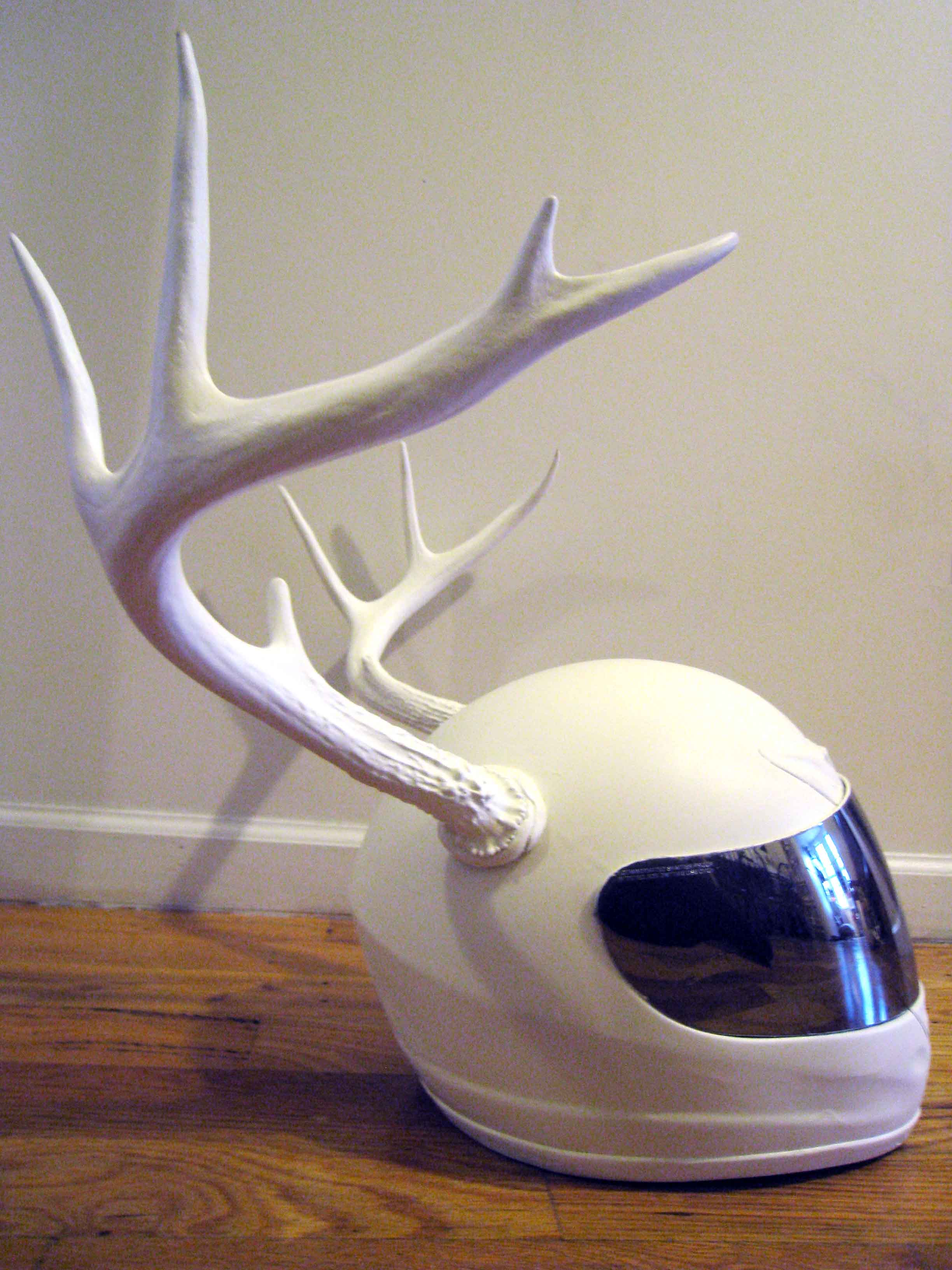 Future Relics (Postworld): Antler Helmet,  2013  animal bones, paint and helmet  20x24x24""