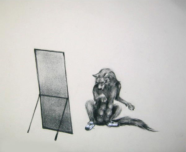 """Mirror 2/3, 2005  Charcoal on paper  10x12"""""""