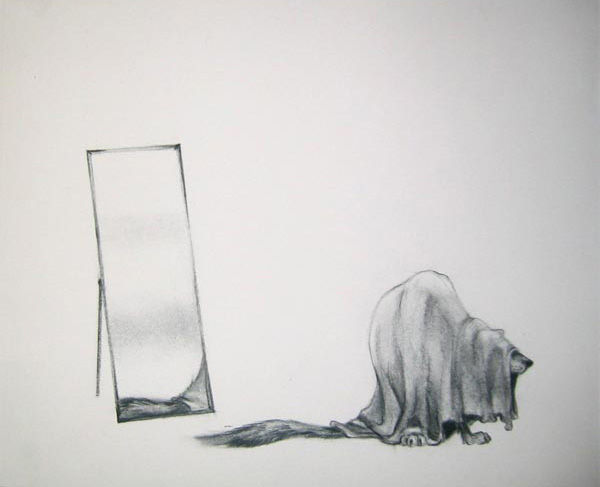 """Mirror 3/3, 2005  Charcoal on paper  10x12"""""""