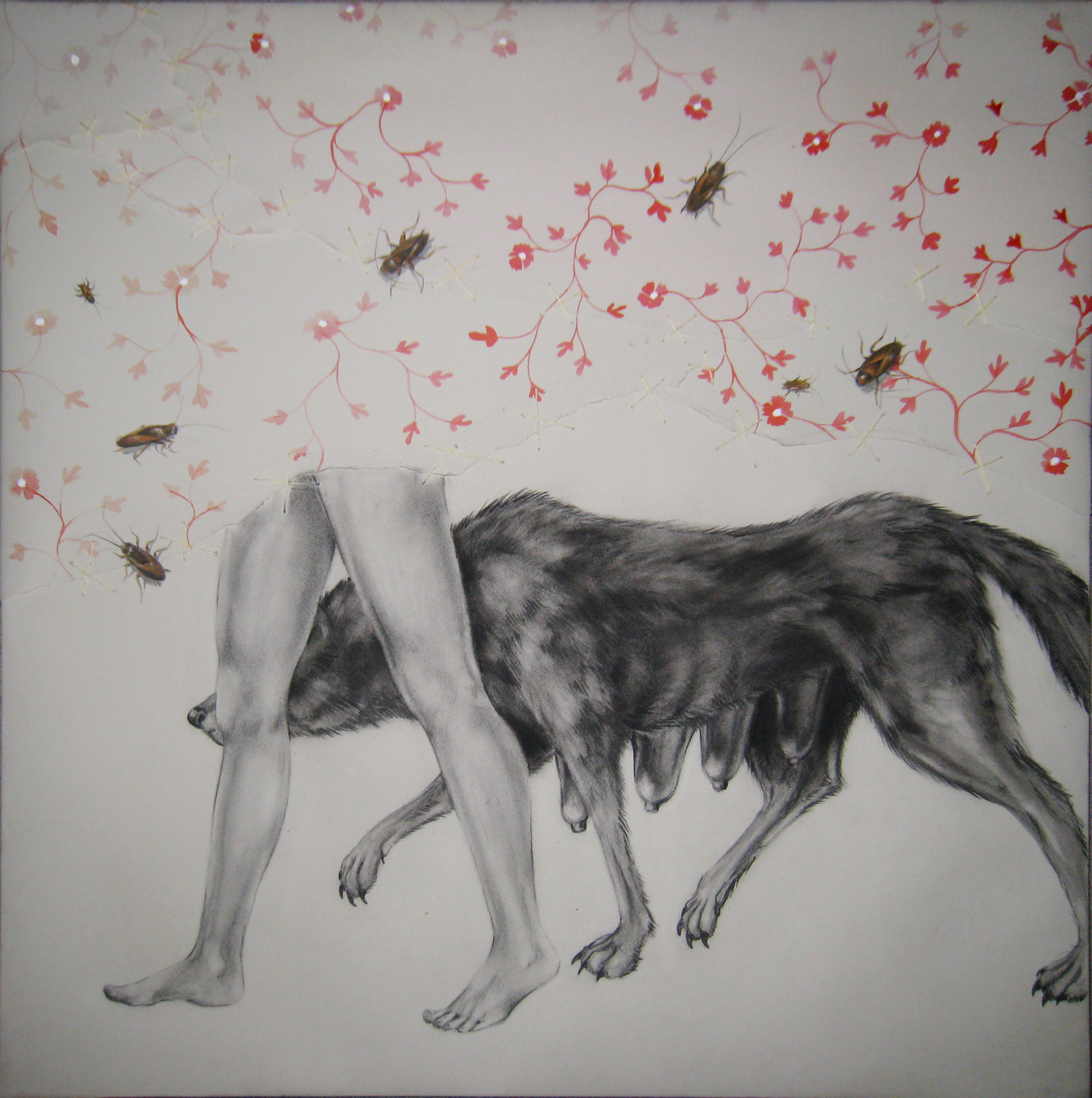 """Trauma 1 , 2008  Charcoal, ink, and stitching on stretched paper  30x30"""""""