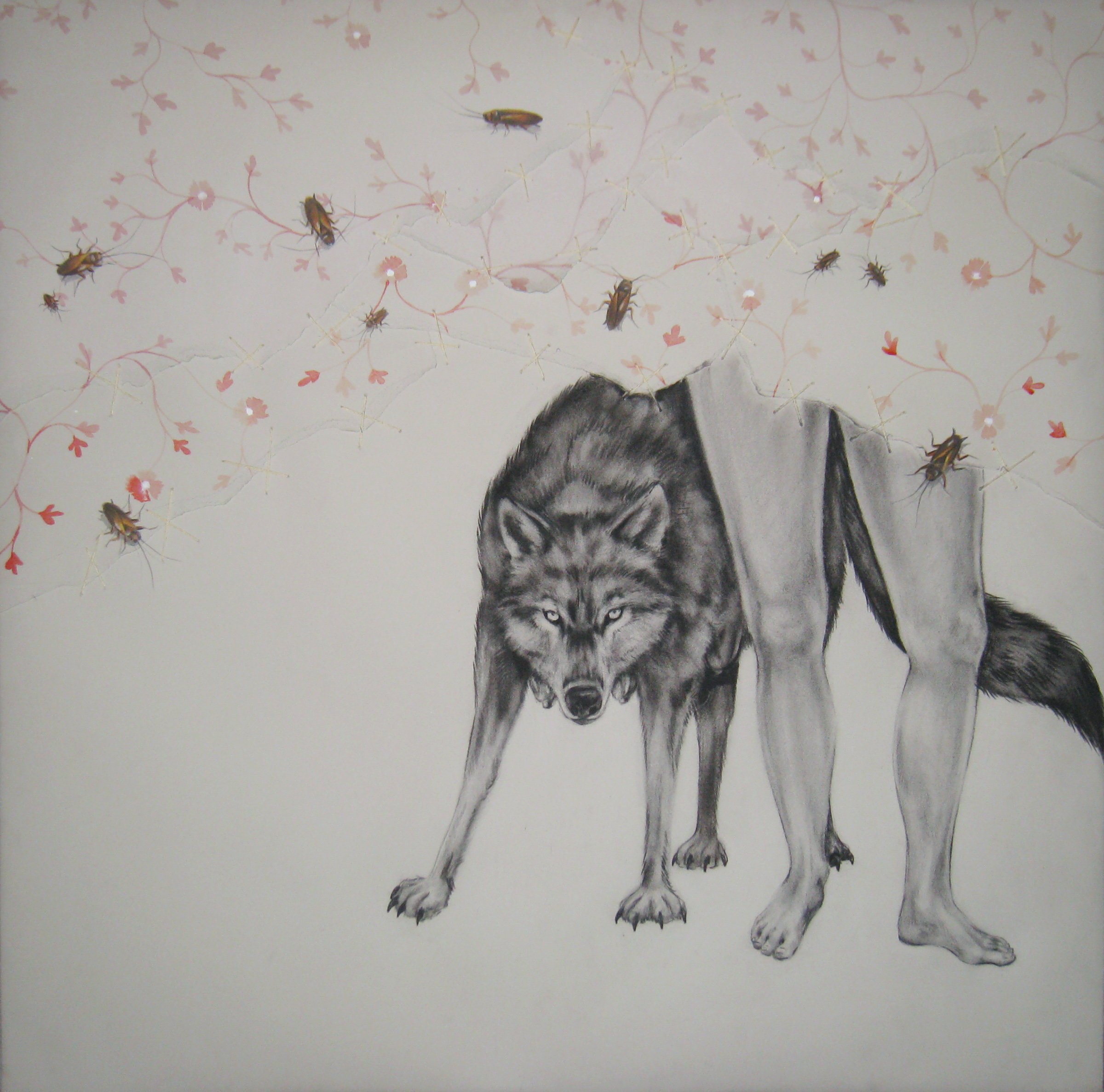 """Trauma  2 , 2008  Charcoal, ink, and stitching on stretched paper  30x30"""""""