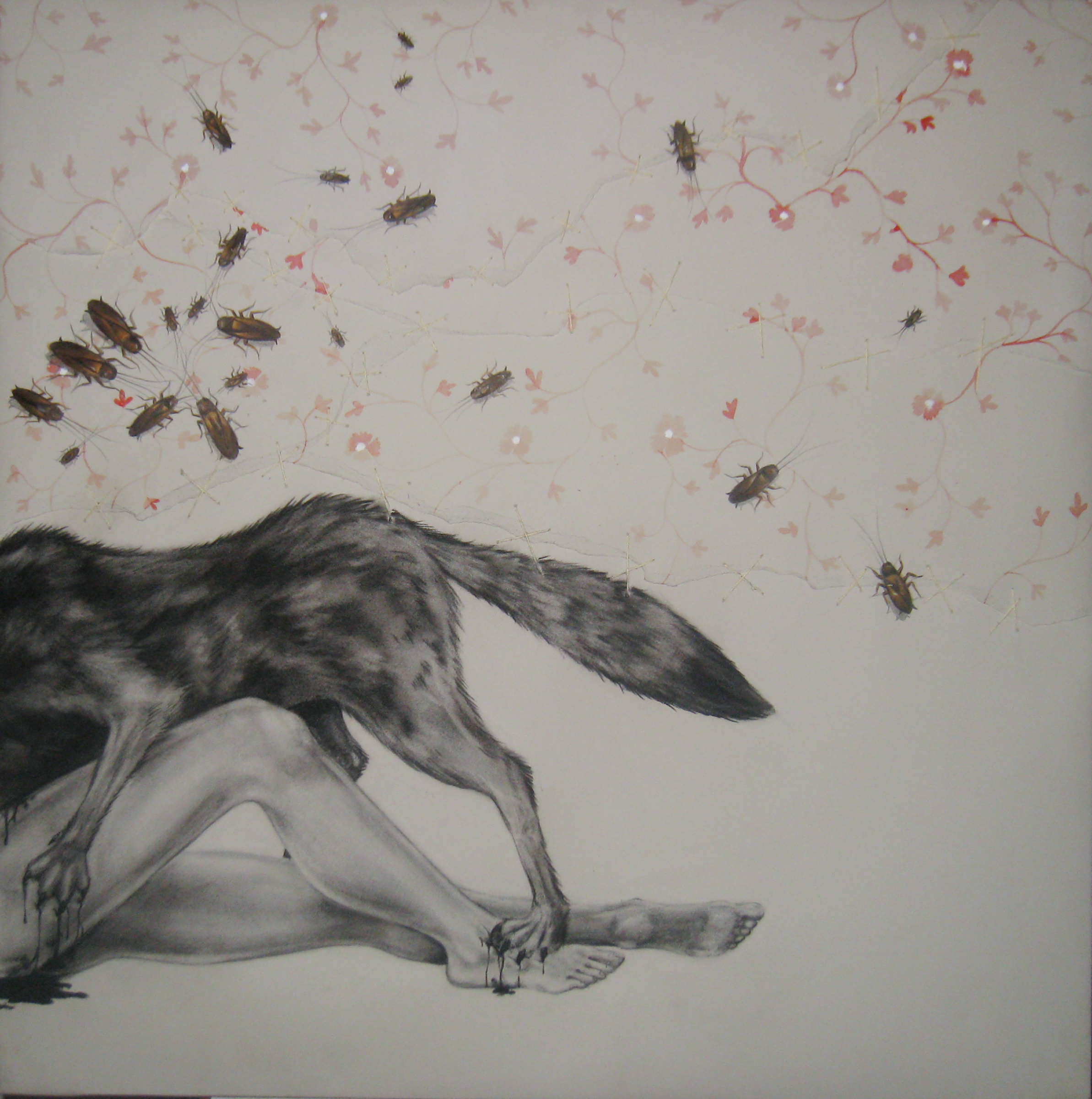 """Trauma  3 , 2008  Charcoal, ink, and stitching on stretched paper  30x30"""""""