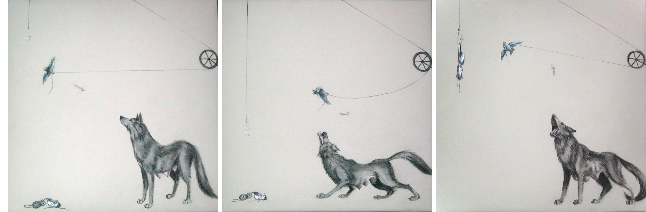 """Triptych (Up, Up, and Away) ,2005  Charcoal and ink on stretched paper  12x36"""""""