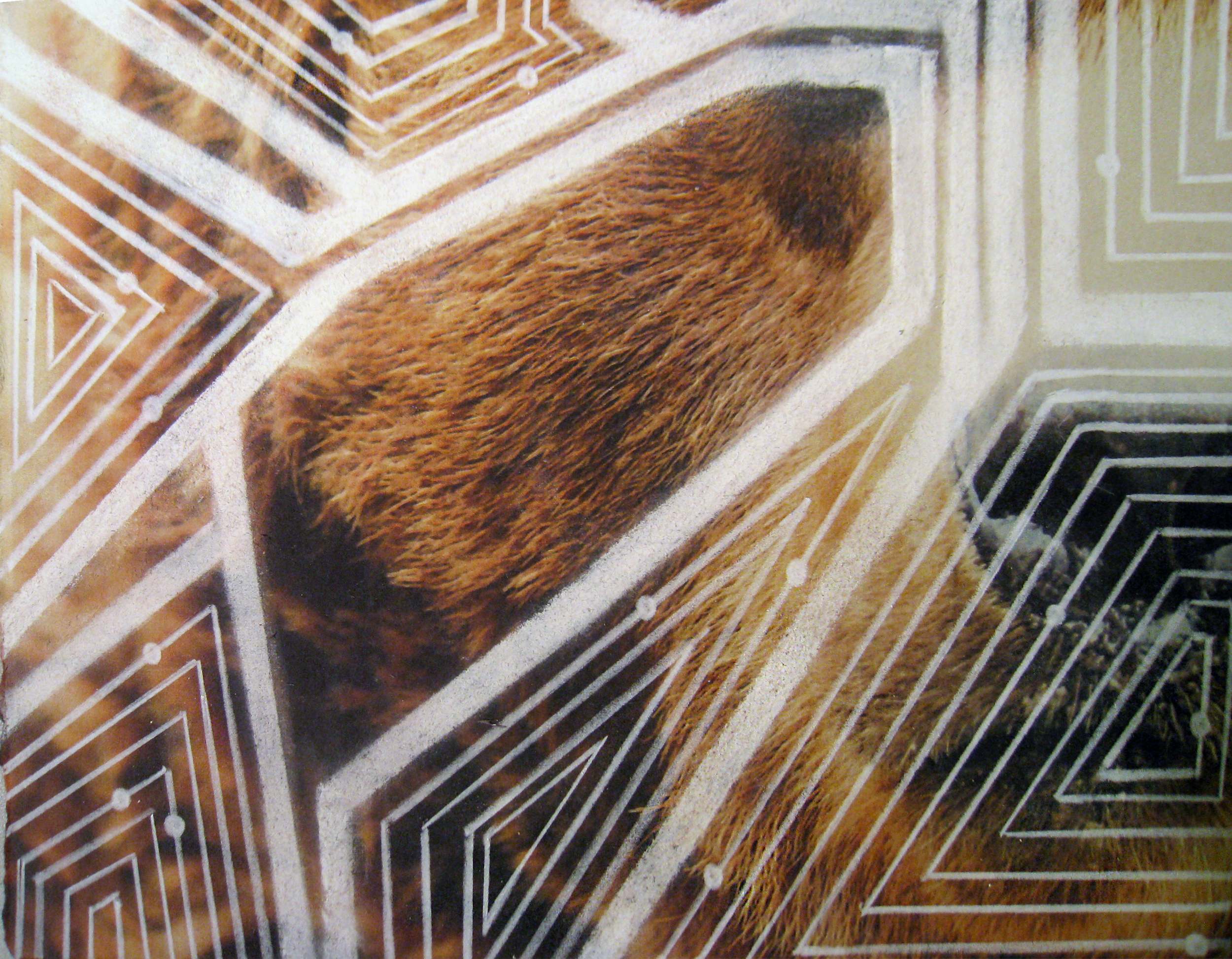 Fractures 3 (Bear) , 2013  Inkjet Print and Drawing  8x10""