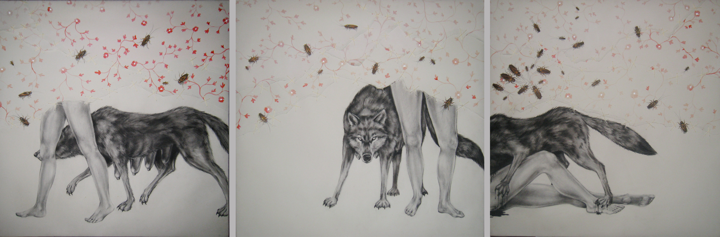 """Trauma   triptych, 2008  Charcoal, ink, and stitching on stretched paper  30x90"""""""