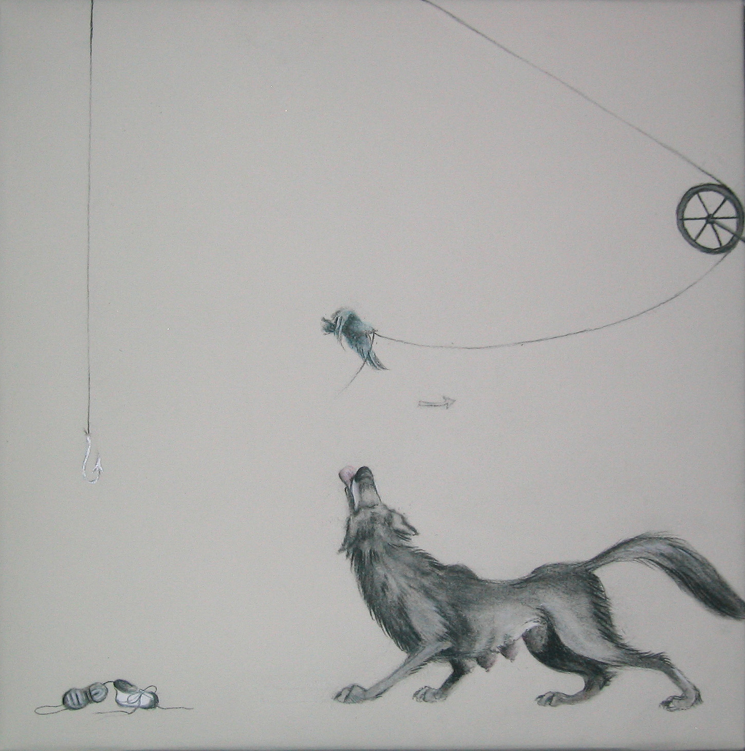 """Triptych 2/3 (Up, Up, and Away) ,2005  Charcoal and ink on stretched paper  12x12"""""""