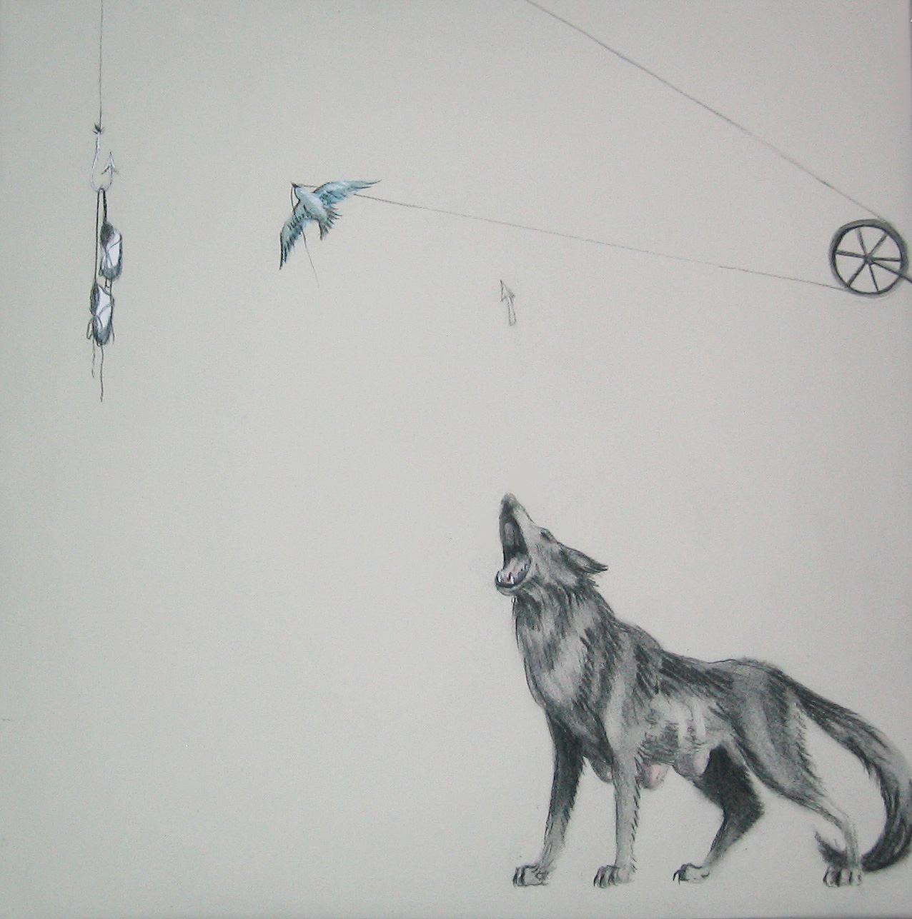 """Triptych 3/3 (Up, Up, and Away) ,2005  Charcoal and ink on stretched paper  12x12"""""""