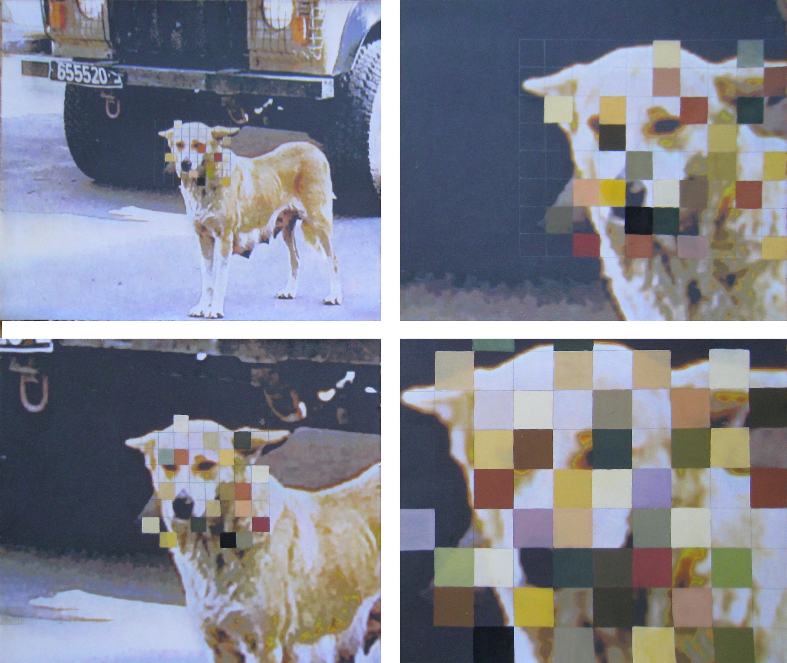 """Pixels, 2014  Gouache on inkjet print  22x26"""""""