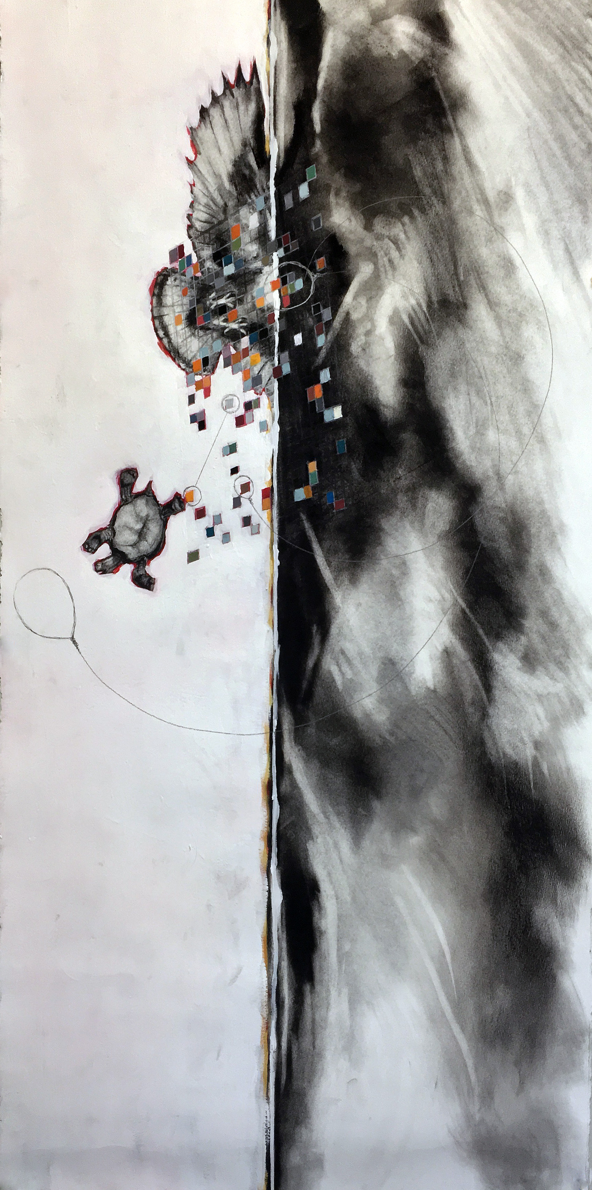 City on a Hill 1,  2015  Charcoal, Acrylic and Goache on paper  22x46""
