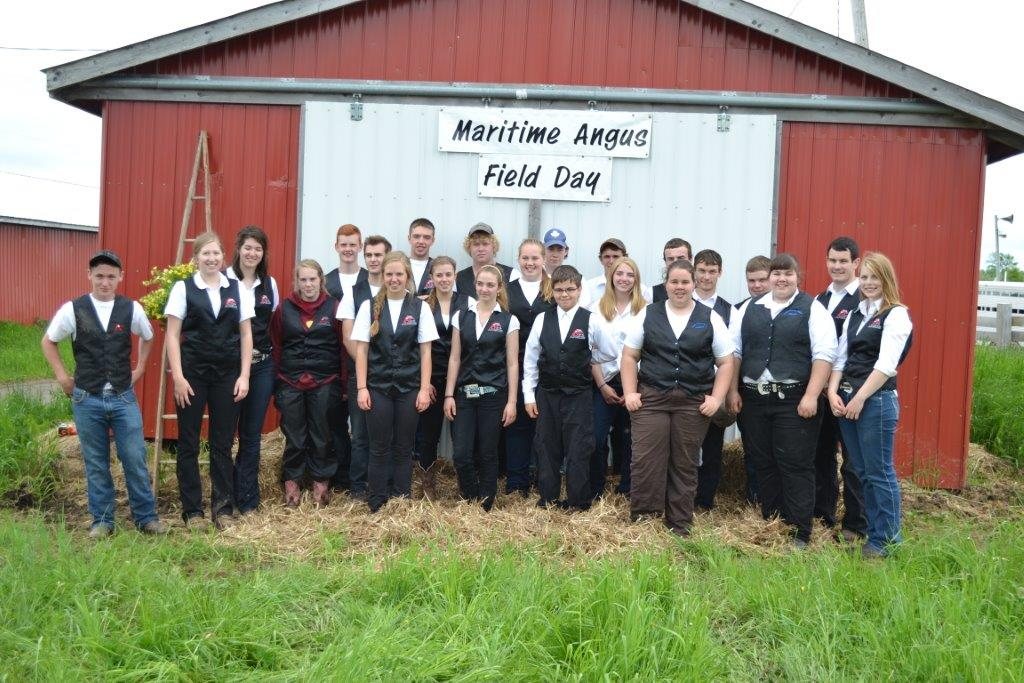 The participants in The Maritime Angus Association Junior Show held at Port Elgin Fair grounds on Saturday June 14, 2014. The Juniors are decked out in the black vests they wore in the show ring.