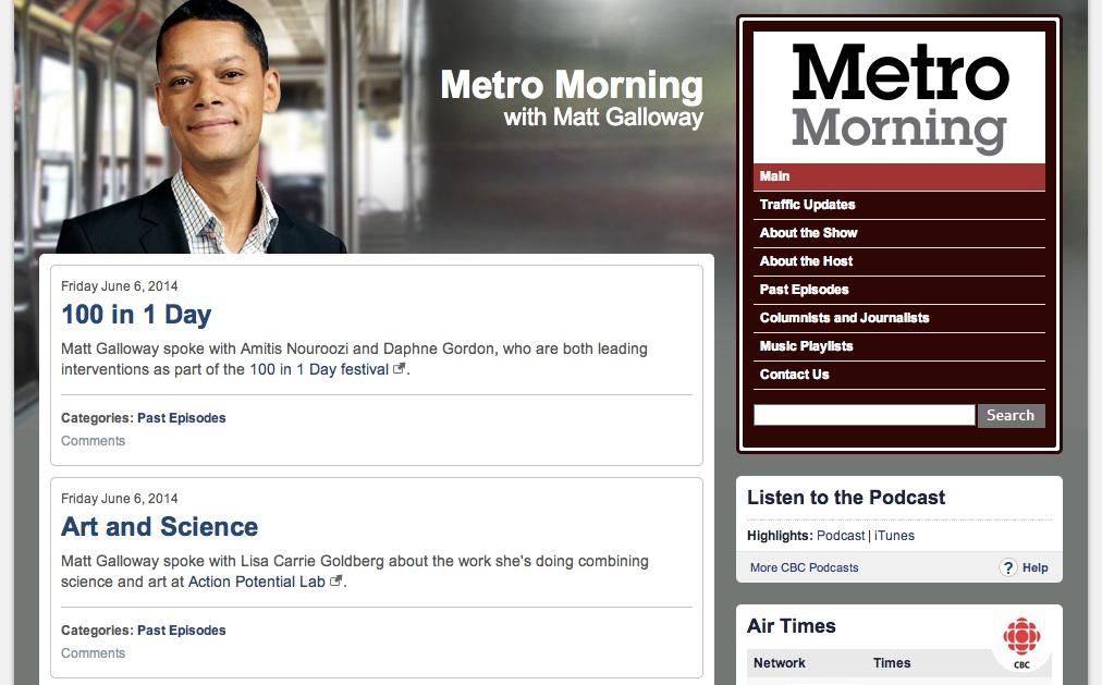 """Art and Science,"" CBC Radio, Metro Morning, 2014"