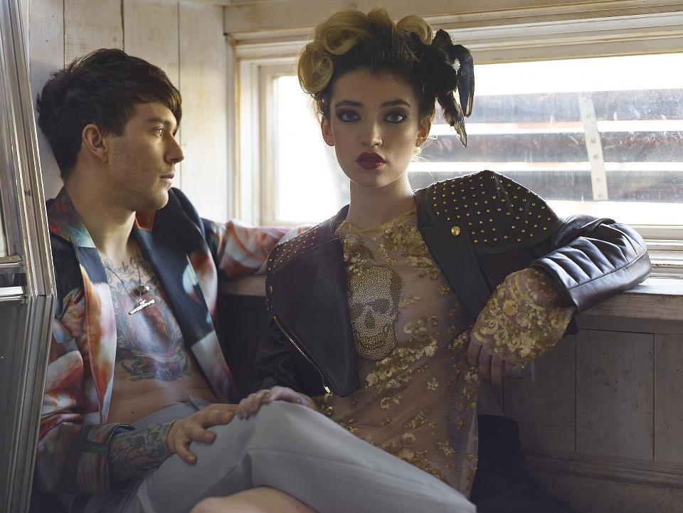 Photo featured in Glamour UK; Designer Nina Athanasiou, Fashion models James Gallagher and Lohla Dahda, Photographer Simon Gentry, Hair stylist Makeup artist Kayla Zeleny