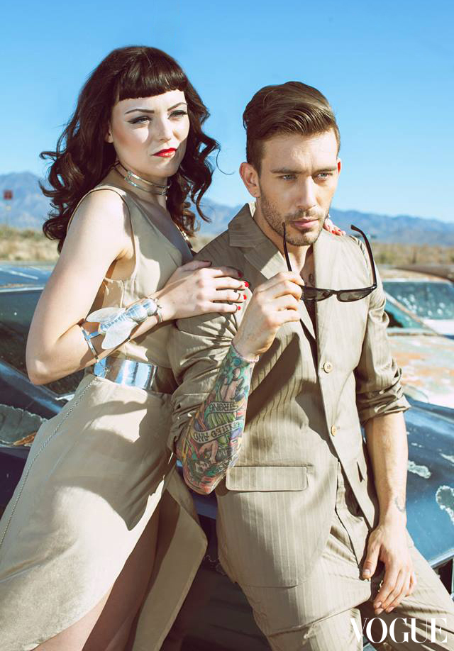Photo will be seen in Vogue UK - February Issue; models Kayla Zeleny and James Gallagher