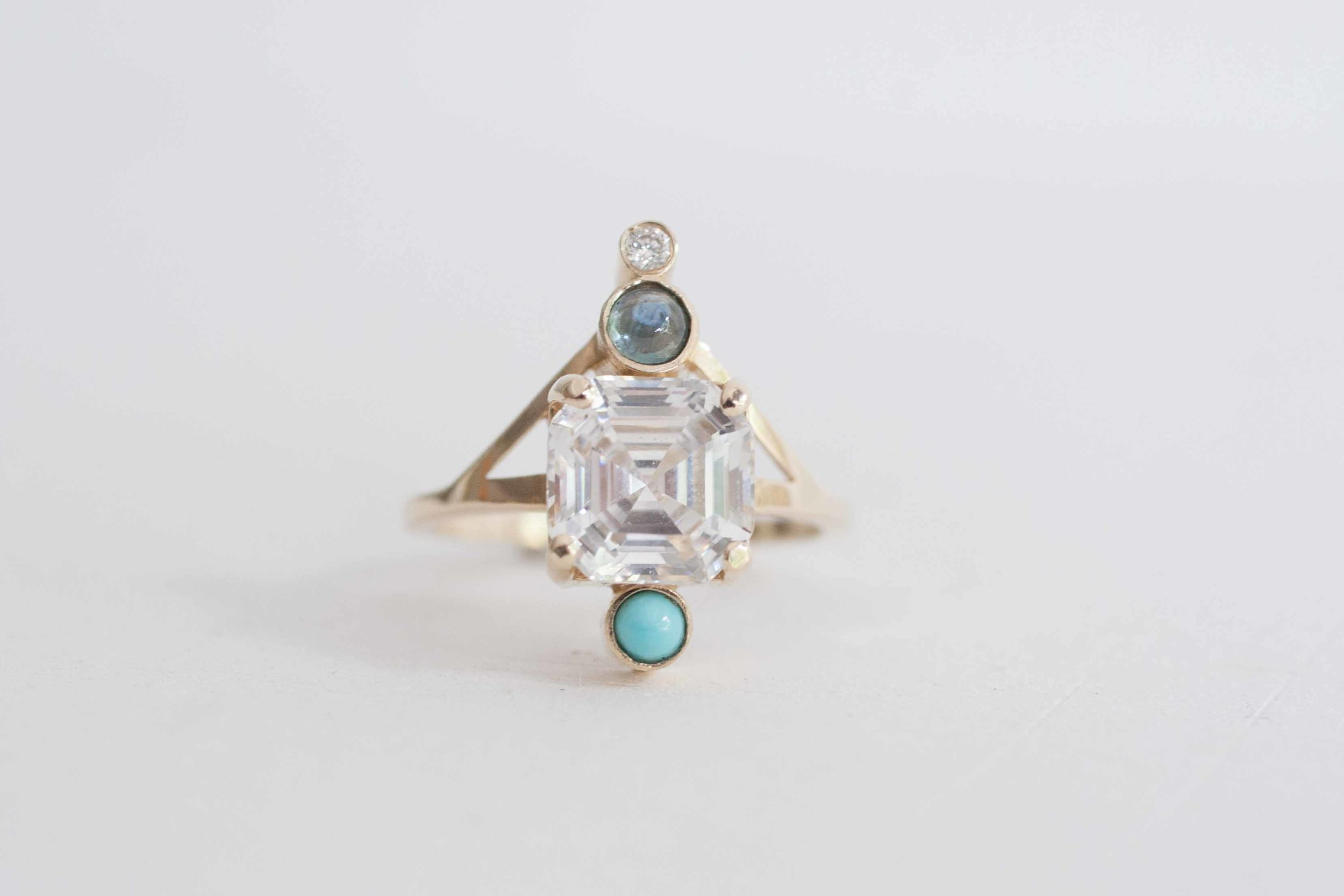 Heather Stevens CZ, turquoise, sapphire diamond Ring-1.jpg