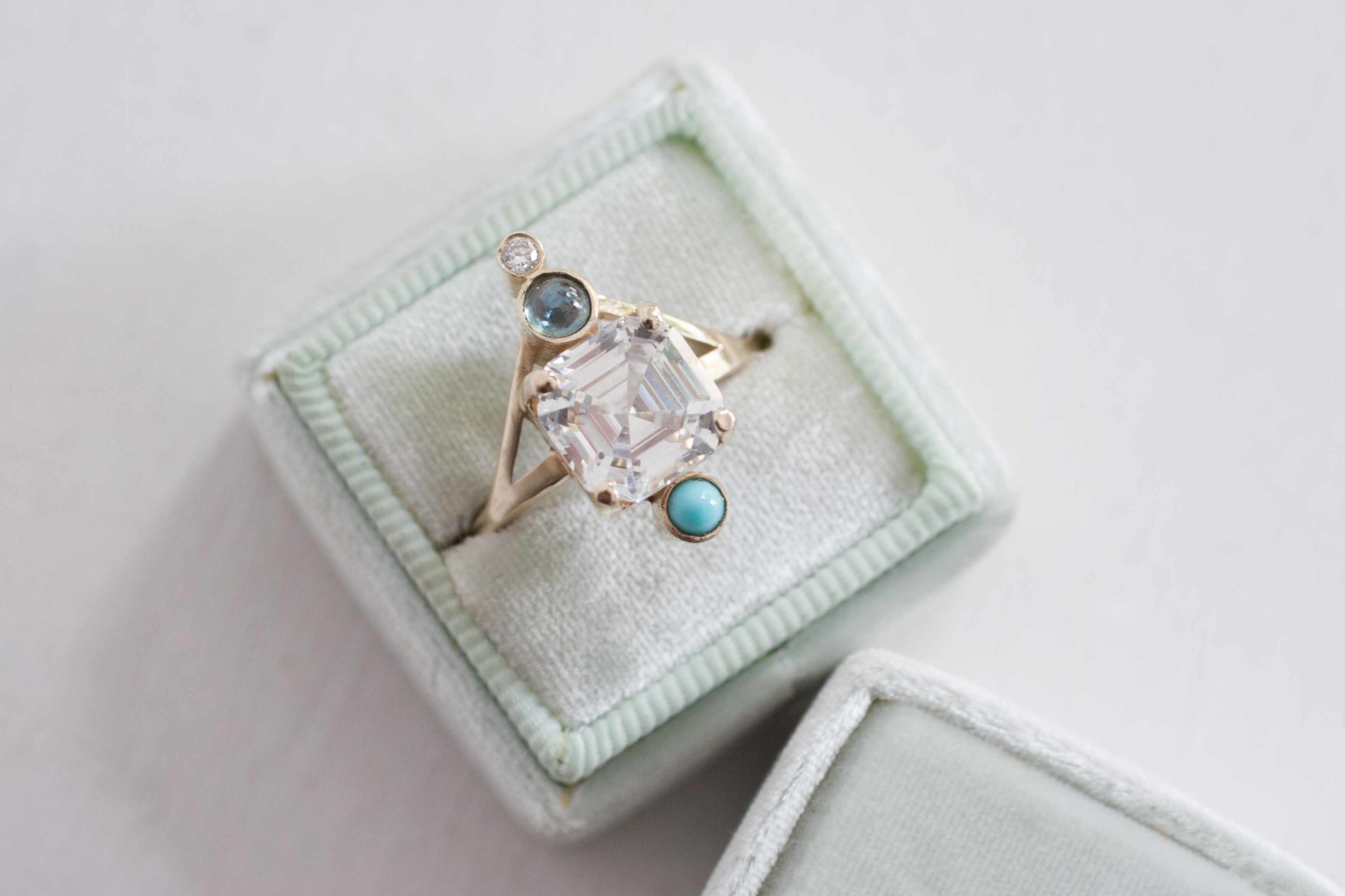 Heather Stevens CZ, turquoise, sapphire diamond Ring-4.jpg